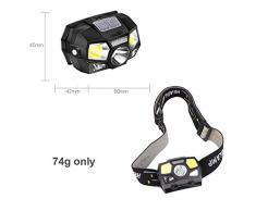 BESTSUN Lampada Frontale LED Ricaricabile USB con Luce Rossa stroboscopica, torce a Testa illuminante da 300 Lumen, Faro a Luce Bianca e Rossa COB 5 modalità per l'escursione in Campeggio