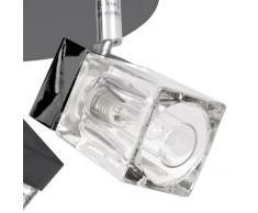 Plafoniera moderna per il bagno classificata IP44 con 3 luci spot nella forma di cubetti di ghiaccio - cromata nera