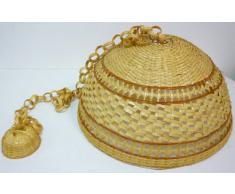 Lampadario lampada in bamboo bambù rattan vimini e giunco appendibile per casa camera salotto cucina