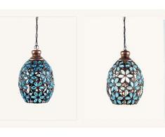 Sospensione colorati fiori lampada a sospensione Marocco retrò lampadario Mediterraneo progettazione in ferro e acrilico per Cusine ristorante camera E14 Ø21 cm * 30 cm