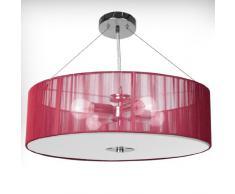 Lampadario in Tessuto - CEE: A++ a E, a Tamburo Ø 50cm, 4 Lampadine, E27, LED, Colore a Scelta - Lampada da Soffitto, Plafoniera a Sospensione, in Stoffa, da Soggiorno, Salotto (Rosso)