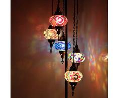 Fatto a mano, Tiffany Style Vetro, Turco/Marocchino Lanterna Stile Ottomano Mosaico Lampada da Terra 5 Grande Globo