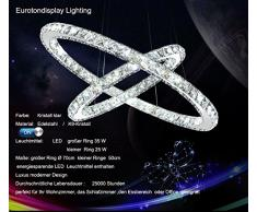 LED-Lampadario A sospensione in cristallo K9 3210-57 Design di lusso, cromato, Ø 70 cm, lunghezza 50 cm, con 2 anelli, 60 W, 6500 K, classe di efficienza energetica: A