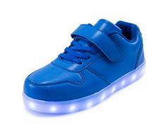 AFFINEST Led Con Luci Sneakers Bright Light USB 7 Colori Bambino Scarpe Lampeggiante bambini ragazzi ragazze regalo Natale Capodanno(blu,32)