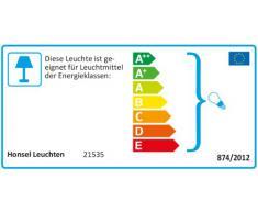 Honsel Leuchten 21535 Amsterdam - Lampada a soffitto in ottone invecchiato e vetro, eco alogena a 5 punti luce E14 28 W, Ø 63 x 35 cm, colore: Bianco alabastro