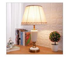 YUWJ Lampada da Tavolo in Ceramica Lampada da Comodino Camera da Letto Studio Antico Lampada da Tavolo in Rame dimming Lampada Soggiorno,White,Dimming