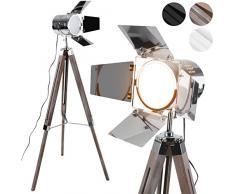 Lampada da Terra con Treppiede - Altezza Regolabile, Classe di Efficienza Energetica A++ a E, LED, Vintage, Colore a Scelta - Lampada a Stelo, da Pavimento, per Soggiorno, Salotto (Legno)