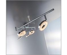 Plafoniera LED moderna, lampada da soffitto, 6 luci rotonde orientabili, forma ciambella, luce calda, corpo metallo cromato, LED integrati 6 x 4 W, lampadario soggiorno o camera da letto, 230V, IP20