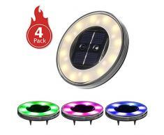Luci Solari Giardino Tomshine 12+6 LED Luci Solari da Esterno Faretti Solari a LED da Esterno IP68 Impermeabile(RGB e Bianco caldo)【4PC】