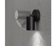 Konstsmide 7598-750 Modena - Lampada da parete con faretto orientabile, 9 x 8 x 10,5 cm (larghezza x profondità x altezza), 1 lampadina da 35 W, IP44, in alluminio smaltato, colore: Nero opaco