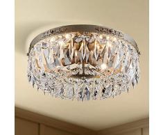 Bestier argento antico Impero francese cristallo semi incasso filo lampadario illuminazione LED plafoniera lampada apparecchio sala da pranzo bagno camera da letto soggiorno 4 lampadine E14 richieste