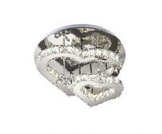 Cristallo LED 74W lampada da soffitto acciaio inossidabile LED Specchio Plafoniera forma di cuore Lampadario moderno in cristallo Soggiorno Camera da letto Corridoio Decor Luci di soffitto, 50cm