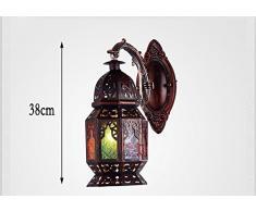 NAUY Europeo Retro mediterranea marocchina Ferro lampada da parete del salone Luci luce della navata laterale Luci della barra ristorante Luci Balcone lampade