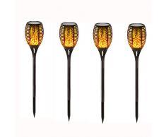 Reefa Luci Lampade Torce Solari da Giardino LED Decorative,Luci Solari Esterno Impermeabile, Effetto Danza Fiaccola, Alto 82 cm