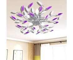 mewmewcat Lampada da Soffitto Bianca e Viola con Cristalli Acrilici 5 E14