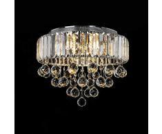 Lampadario di cristallo, 6 luci G9 Premium Moderna ed elegante Plafoniera rotonda Ø40CM Illuminazione a sospensione (Lampadine non incluse)