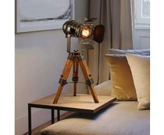 Jtivcs Creativo industriale antico macchina fotografica lampada scalabile lavoro studio ufficio camera da letto scrivania lettura treppiede tavolo luce americano rurale retrò lampada da scrivania in l