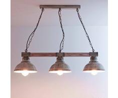 Tavolo da pranzo a sospensione vintage/bianco/bianco/legno e metallo/sala da pranzo a sospensione/rustico / 3x E27 fino a 60 Watt 230V / cucina retrò Shabby Chic lampada