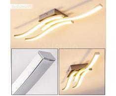 Plafoniera LED Letala in metallo di colore nichel opaco e cromo - Lampada da soffitto 3 x 5 W LED - Luce bianca calda 3000 Kelvin - 1500 Lumen