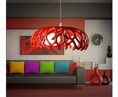 Homelike light Lampadario a sospensione dal design minimalista, di moda e creativo, per soggiorno, camera da letto, colore: rosso, 3 x E27, diametro 42 cm