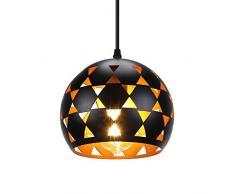 LIGHTESS Lampada a Sospensione Moderna Nera, Lampadario a Sospensione Vintage E27, Lampadario Industriale Metallo (D20*H17cm)