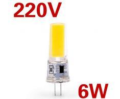 Claean-Acces-Home Lampadina LedLampadina a LED G4 G9 AC/DC 12V 220V 3W 6W COB SMD Le luci di Illuminazione a LED sostituiscono Il lampadario alogeno Spotlight 5 Pezzi-G4 6W 220V_Bianco Caldo