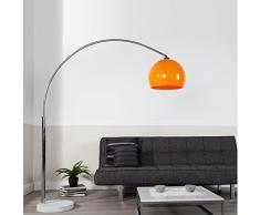 Lampada ad arco in alluminio satinato con base circolare media in