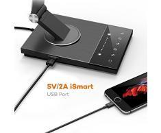 Lampada da Scrivania TaoTronics, Lampada da Tavolo e Ufficio in Metallo con Porta USB Ricarica per Smartphone, 5 Temperature di Colore, 6 Livelli di Luminosità, Funzione Memoria, Timer di 60 Minuti