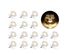 Mini Faretti Incasso,Tomshine 16PCS 0.6W LED da Incasso LED Soffitto Faretti da Incasso Resistenza allacqua IP67 per Giardino Patio Scala