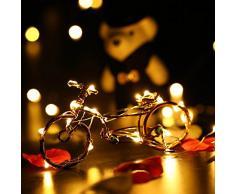 lederTEK 8 PACK 2.2M 20 LED di Cavo di Rame con Adattatore di Alimentazione Fai da Te Decorare Stuff, Alberi di Natale Bianco Caldo