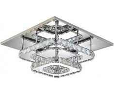 Raelf Plafoniera a LED, plafoniere di cristallo quadrato 2 tavole a led da incasso 36W, moderno soffitto per soggiorno e camere da letto 110-220V IP20 quadrati a soffitto a soffitto a soffitto a soffi