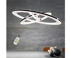 Lampada a sospensione ZMH Lampadario da Soffitto 90W Led 3-anello dimmerabile telecomando lampadario camera letto soggiorno soffitto lampada a sospensione lampadario