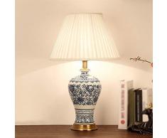 Lampada da tavolo da salotto Lampada da tavolo in ceramica, cinese classica lampada da tavolo, lampada da comodino Soggiorno Camera da letto Studio Desk pulsante interruttore della lampada da tavolo E
