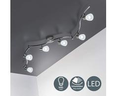 Faretti LED a soffitto orientabili, include 6 lampadine E14 da 5W, luce calda 3000K, plafoniera moderna a soffitto per l'illuminazione da interno, lampadario con corpo metallo e vetro 230V IP20