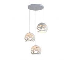 Modern Design Lampada Da Tavolo da pranzo sferica semplice lampada da soffitto in metallo lampadario bianco lampada a sospensione per soggiorno sala da pranzo cucina E27 * 3, regolabile in altezza