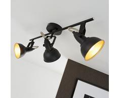 Briloner Leuchten Faretti retro 3, vintage, orientabili, luci da soffitto, nero e oro, max. 40 W, montaggio E14, 55.4 x 18.1 x 10 cm (L x A x P)