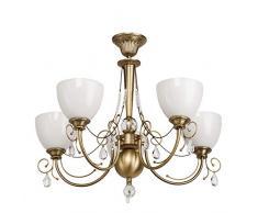 Lampadario da soffitto classico colore di ottone metallo vetro con gocci cristalli in stile tradizionale in soggiorno salotto o camera da letto 5 bracci Ø72cm 5-bulb escl, E27 5x60W 230V