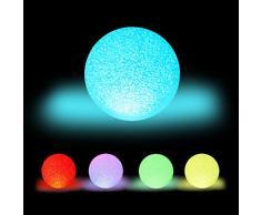 Relaxdays - Lampada LED a sfera, cambia colore, funzionamento a batteria, senza cavo, per interni, sfera luminosa colorata, Ø 15 cm, colore: Bianco