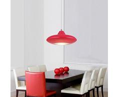 Creative Bar LED-Lampada a sospensione, modello Fashion semplice, ristorante-Lampada a sospensione, modello Cafe-Lampadario da soffitto da incasso moderno rosso