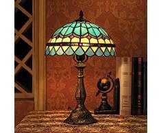 12 pollici di stile blu dellannata pastorale Mediterraneo piuma di vetro macchiato di stile di Tiffany lampada da tavolo da letto lampada da comodino Lampada