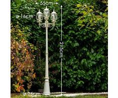 Illuminazione da giardino lampione in metallo color bianco sporco
