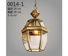Lzonv Design Plafoniere/Lampade A Sospensione European-Style Lampada Di Rame Rame Puro Piccolo Giardino Ristorante Americano