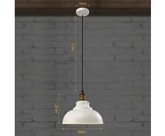 BayCheer, lampada a sospensione effetto vintage, colore: Marrone Ruggine / bianco, E27, regolabile in altezza