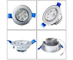 SAILUN 12 X 3 W LED da incasso bianco freddo argento opaco rotondo da incasso Spot lampade da soffitto a incasso – faretto a incasso – luce spot adatto per il bagno/segnalazione