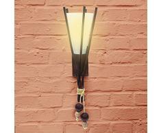 Relaxdays Lampada da parete modello fiaccola, legno di betulla & vetro opalino, E27, 15x45x17 cm, Marrone, 40 W, 17 x 15 x 45 cm