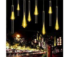 Luce Natale LED Pioggia Luci,SUAVER Impermeabili solare Luci di Raindrop decorative del giardino LED Meteor luce con 30cm 10Tubi 360LEDs, luci a sospensione per esterni, giardino, alberi di Natale (Bianco caldo)