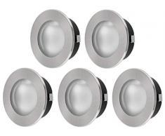 5 Pack - 2 in1 - SuperSlim Spot Faretto a incasso - Interamente in metallo ferro spazzolato - G4 12 V - con copertura in vetro opaco + chiara - diametro esterno 69 mm - diametro incasso 57 mm - Solo 21 mm