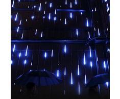 Luce Natale LED Pioggia Luci,SUAVER Impermeabili solare Luci decorative giardino con 30cm 10Tubi 360LED,luci a sospensione per giardino,alberi di Natale(Blu)