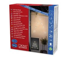 Luci decorative a LED, a tenda, con 7 stelle ancorate, dimensioni stelle: 18 cm, 18,5 cm, 70 diodi a luce bianca calda, trasformatore esterno 24 V, cavo trasparente 4043-103
