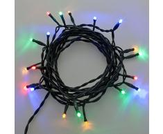 2 x Catena per presepe 5 m, 20 led multicolor, luce fissa, cavo verde, catena natalizia, decorazione luminosa
